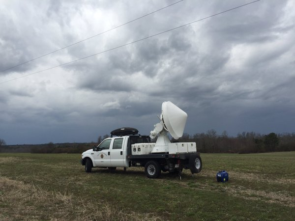 UMass X-Pol mobile Doppler Radar deployed near Section, AL